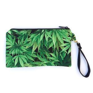 Plant Fabric Green Black Wristlet Keychain Bag NEW